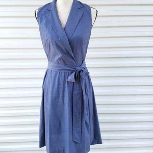 Anne Klein faux wrap chambray dress size 4